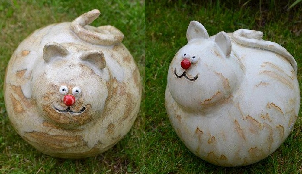 Kugelrunde gartenkatze aus keramik interessantes f r katzenfreunde - Keramik katzen fur garten ...