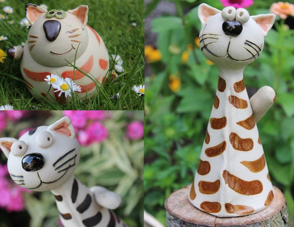 Keramikkatzen fuer den Garten
