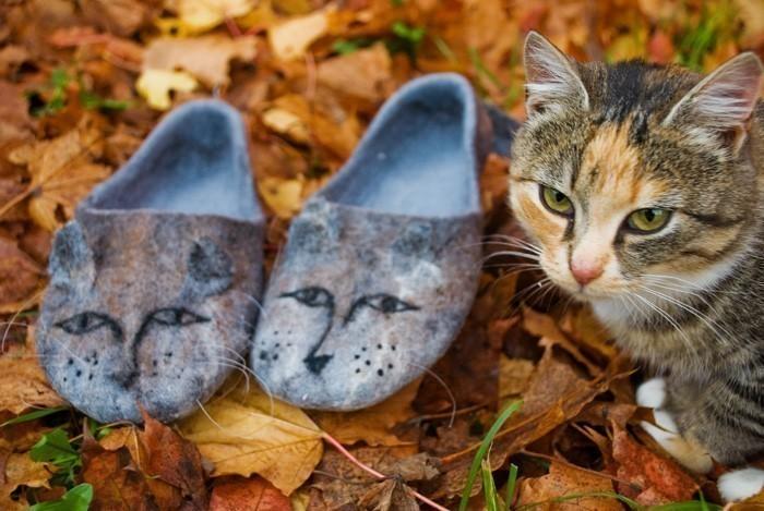 Filzpantoffeln Katze