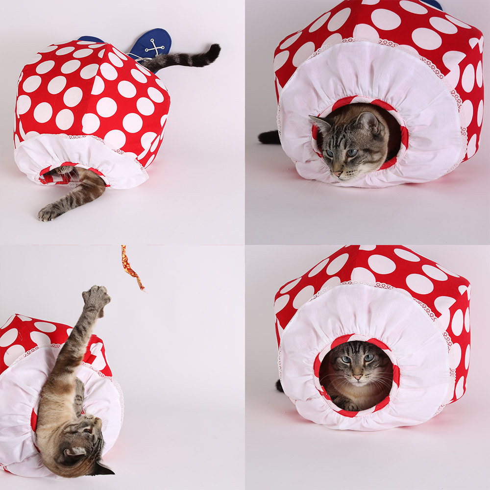 The Cat Ball® cat bed novelty clown style.