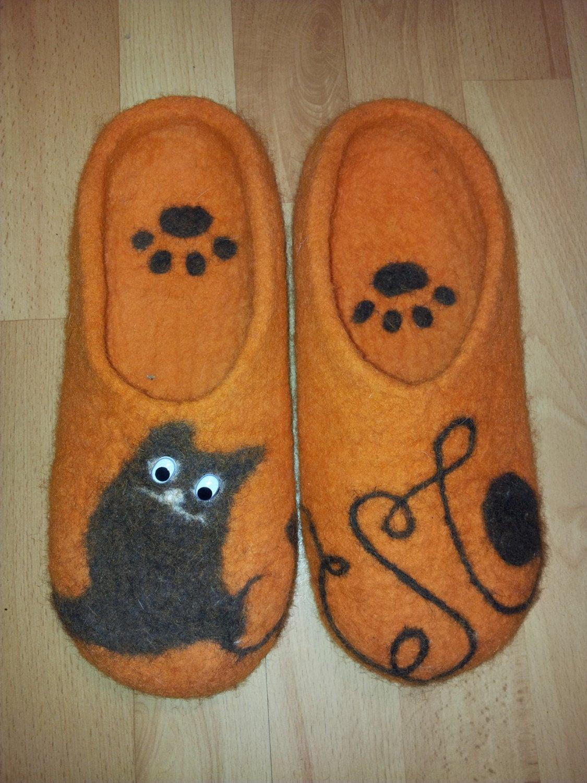 Hausschuhe Filzpuschen Katze 2