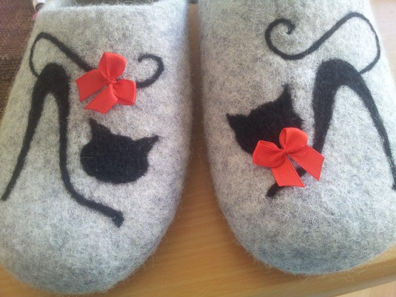 Hausschuhe Filzpuschen Katze 5