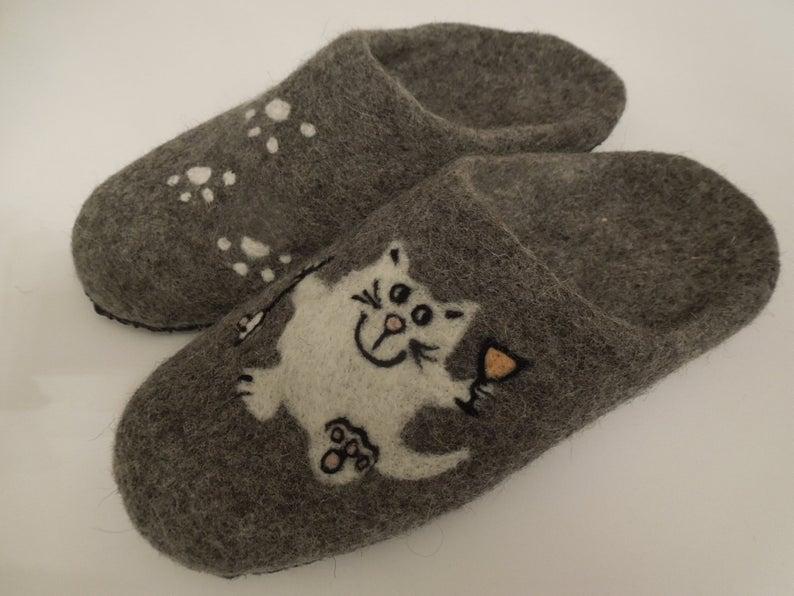 Hausschuhe Filzpuschen Katze 6