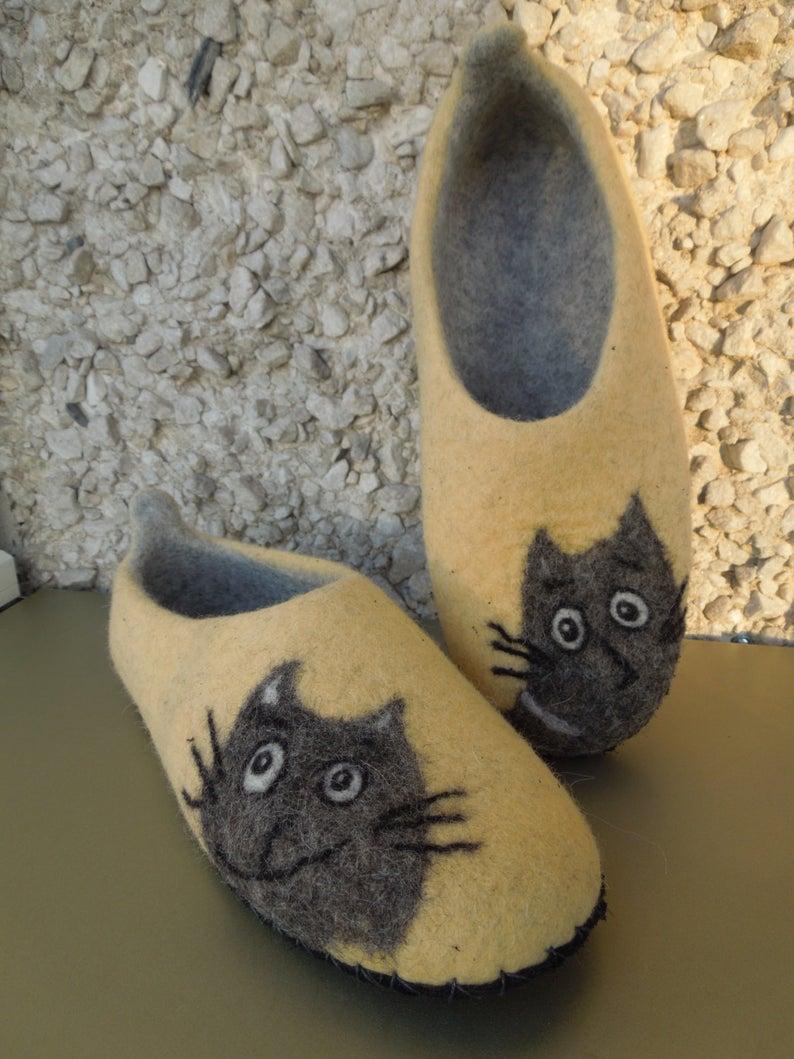 Hausschuhe Filzpuschen Katze 8