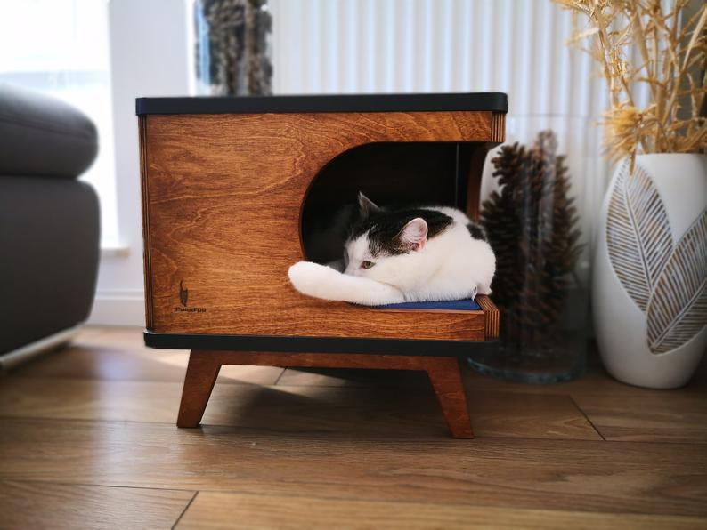 Katzenhoehle Holz schwarz