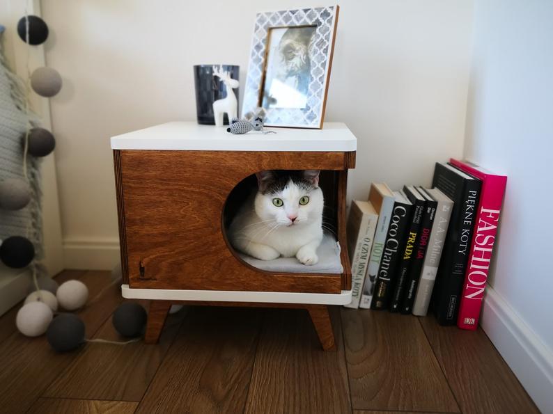 Katzenhoehle Holz weiss
